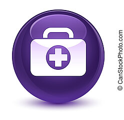 First aid kit bag icon glassy purple round button