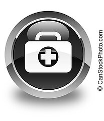 First aid kit bag icon glossy black round button