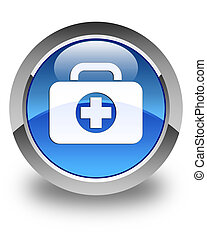 First aid kit bag icon glossy blue round button