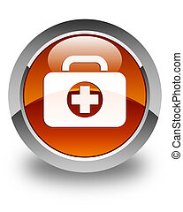 First aid kit bag icon glossy brown round button