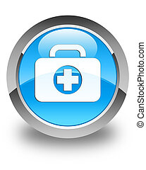 First aid kit bag icon glossy cyan blue round button