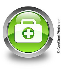First aid kit bag icon glossy green round button
