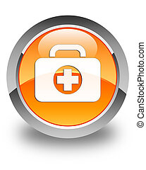 First aid kit bag icon glossy orange round button