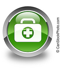 First aid kit bag icon glossy soft green round button