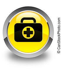 First aid kit bag icon glossy yellow round button