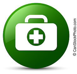 First aid kit bag icon green round button