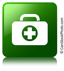 First aid kit bag icon green square button