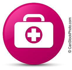 First aid kit bag icon pink round button