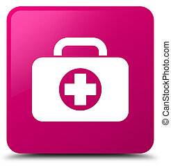 First aid kit bag icon pink square button