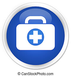 First aid kit bag icon premium blue round button