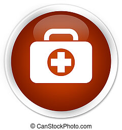 First aid kit bag icon premium brown round button