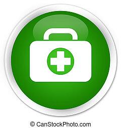 First aid kit bag icon premium green round button