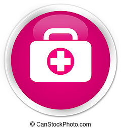 First aid kit bag icon premium pink round button