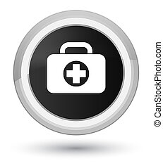 First aid kit bag icon prime black round button