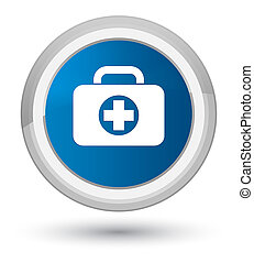 First aid kit bag icon prime blue round button