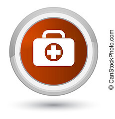 First aid kit bag icon prime brown round button