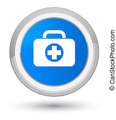 First aid kit bag icon prime cyan blue round button
