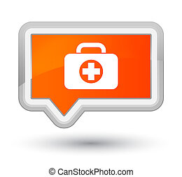First aid kit bag icon prime orange banner button