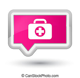 First aid kit bag icon prime pink banner button