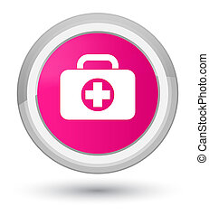 First aid kit bag icon prime pink round button