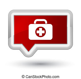 First aid kit bag icon prime red banner button