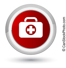 First aid kit bag icon prime red round button