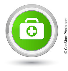 First aid kit bag icon prime soft green round button