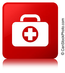 First aid kit bag icon red square button