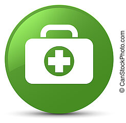 First aid kit bag icon soft green round button