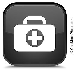First aid kit bag icon special black square button
