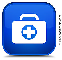 First aid kit bag icon special blue square button