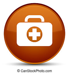 First aid kit bag icon special brown round button