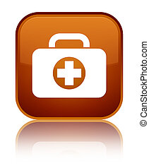 First aid kit bag icon special brown square button
