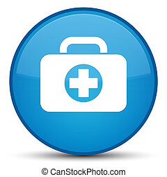 First aid kit bag icon special cyan blue round button