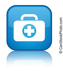 First aid kit bag icon special cyan blue square button