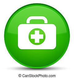 First aid kit bag icon special green round button