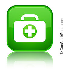First aid kit bag icon special green square button