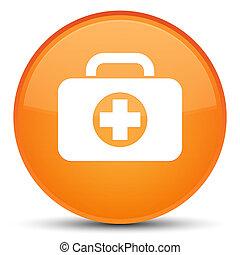 First aid kit bag icon special orange round button