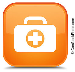 First aid kit bag icon special orange square button