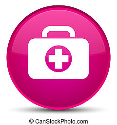 First aid kit bag icon special pink round button