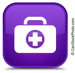 First aid kit bag icon special purple square button