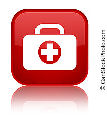 First aid kit bag icon special red square button
