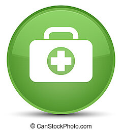 First aid kit bag icon special soft green round button