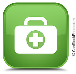 First aid kit bag icon special soft green square button