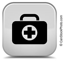 First aid kit bag icon special white square button