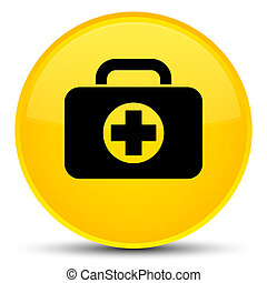 First aid kit bag icon special yellow round button