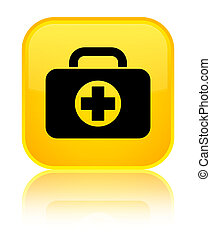 First aid kit bag icon special yellow square button