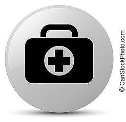 First aid kit bag icon white round button