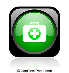 first aid kit black and green square web glossy icon