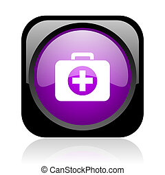 first aid kit black and violet square web glossy icon
